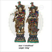 Brass radha Krishna statue with stone work