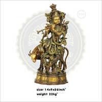 Brass Krishna with Cow Statue