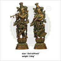 Antique Brass Radha Krishna Statue