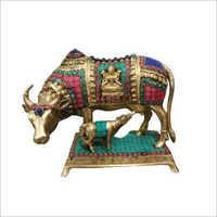 Brass Kamdhenu Cow And Calf Statue