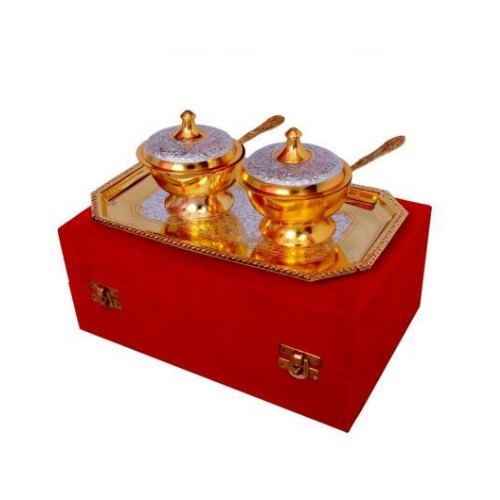 Silver And Gold Plated Brass Mouth Freshener Set