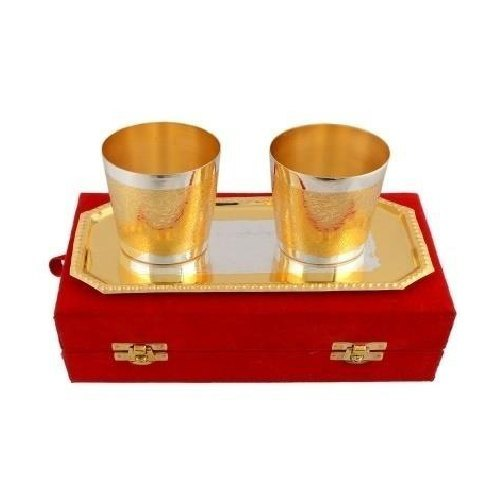 Silver And Gold Plated Brass Glass Set
