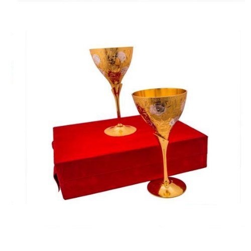 Silver And Gold Plated Brass Wine Glass Set