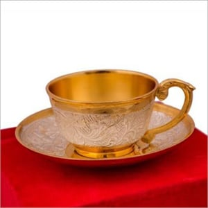 Silver And Gold Plated Single Cup And Saucer Set