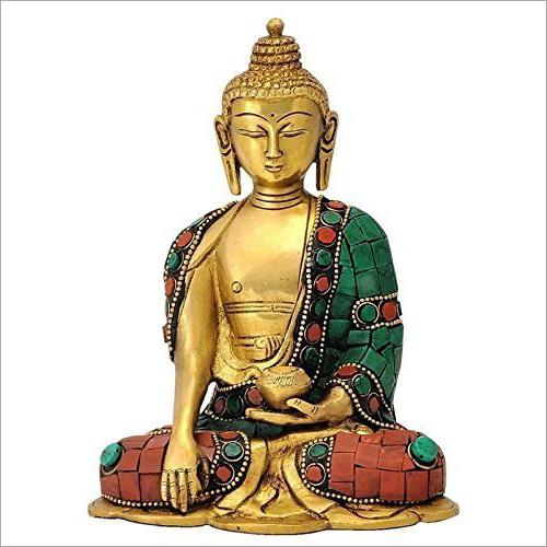 Gold Plated Brass Buddha Statue