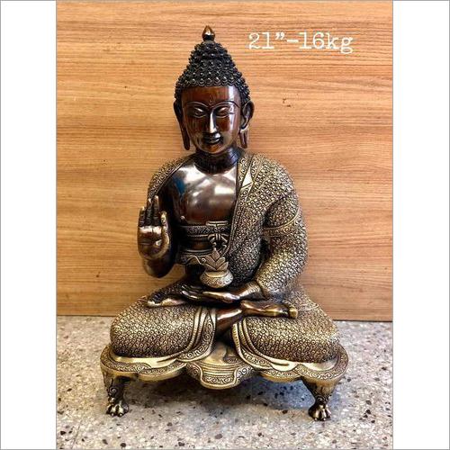 21 Inch Brass Buddha Statue