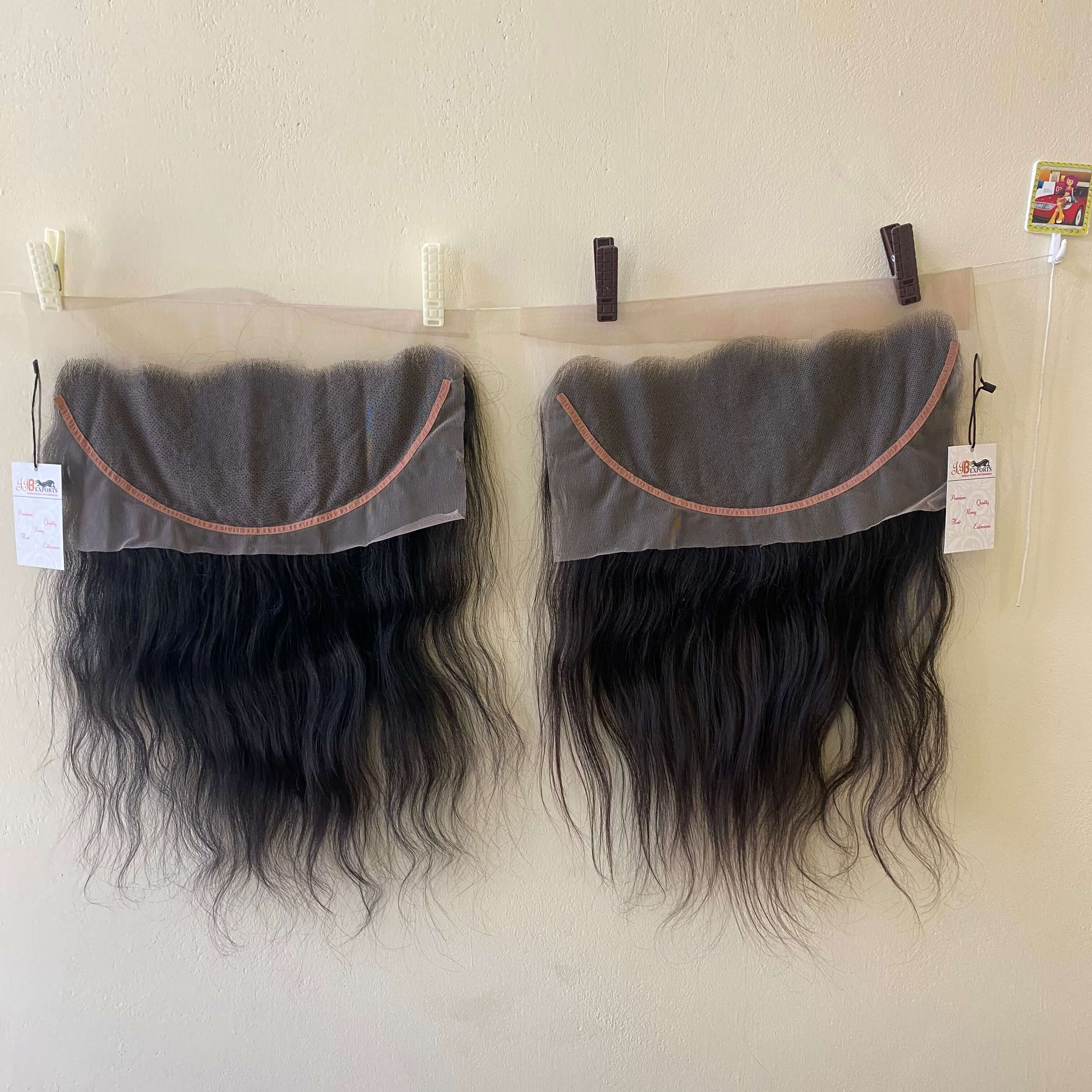 Temple Cut Raw Indian Human Hair Extension  Virgin Cuticle Aligned 4x4 13x4 Lace Closure Frontal Hair