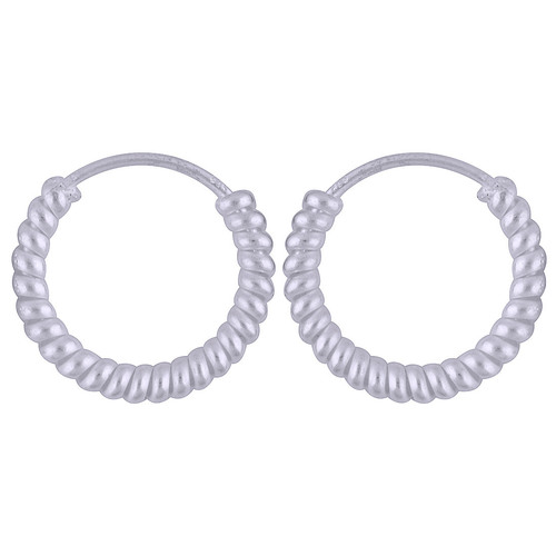 Textured Plain 925 Sterling Solid Silver Bali Earrings