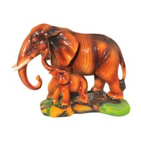 Polyresin Mother And Baby Elephant Decorative Statue