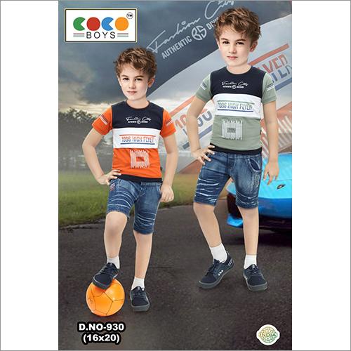 Coco Boys Sinker Fabric Tee With Denim Shorts