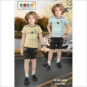 Coco Boys Imported Fabric Tee With Denim Pants