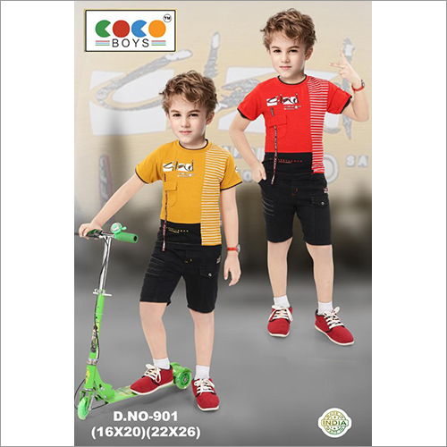 Coco Boys Imported Fabric Tee With Cotton Rfd Pants