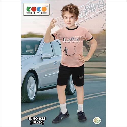 Coco Boys Bowling Print Half Sleeves With Sulphur Pants