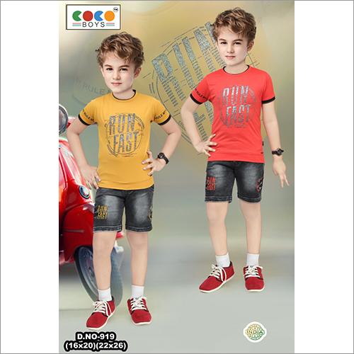 Coco Boys Run Fast Print Half Sleeves With Sulphur Pants