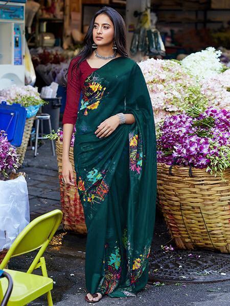cotton sattin saree