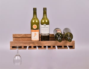 Hanging Wooden Bottle & Glass Stand