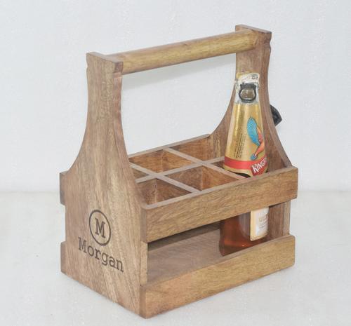 Wooden Bottle Holder With Opener