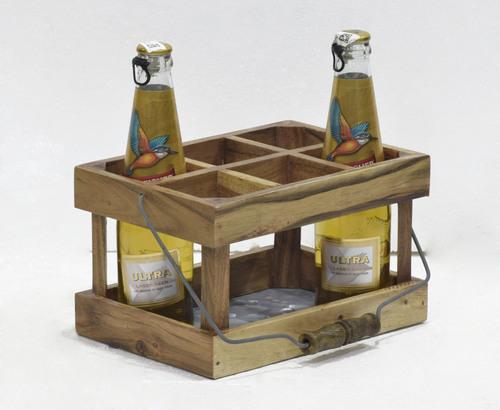 Wooden Stand & Metal Base Bottle Holder