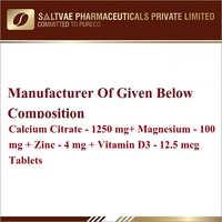Calcium Citrate-1250 MG Magnesium-100 MG Zinc-4 MG Vitamin D3 12.5 MCG Tablets