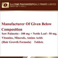 Saw Palmetto-100 MG Nettle Leaf-500 MG Vitamins Minerals Amino Acids Tablets