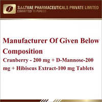 Cranberry-200 MG D-Mannose-200 MG Hibiscus Extract-100 MG Tablets