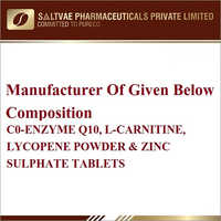 Co-Enzyme Q10 L-Canitine Lycopene Powder And Zinc Sulphate Tablets
