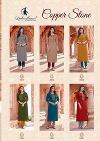 Copper Stone By Ladies Flavour Fancy Naylon Garment Kurtis Catalogue