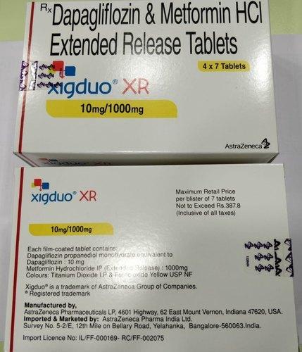 Xigduo Xr 10mg 1000mg Dapagliflozin and Metformin Tablet