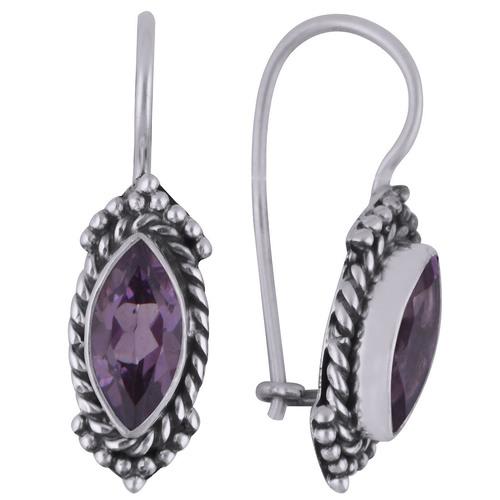Amethyst Natural Gemstone 925 Sterling Solid Silver Marquise Cut Stone Handmade Earrings