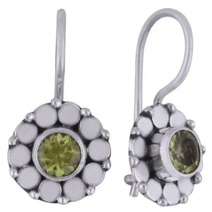 Peridot Natural Gemstone 925 Sterling Solid Silver Square Cut Stone Handmade Earrings