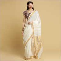 White Kerala Kasavu with 24 inch Gold Zari Jacquard Pallu and Tissue Border Sarees
