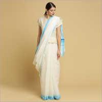 Kerala Kasavu Sarees with Plain Body and Blue Thread Pallu