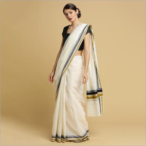 Kerala Kasavu Sarees with Plain Body and Khaki Black Thread Pallu