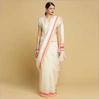 Kerala Kasavu Sarees with Plain Body and Pink Thread Pallu