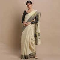 Kerala Kasavu Sarees with Plain Gold Tissue Body and Black Thread Pallu