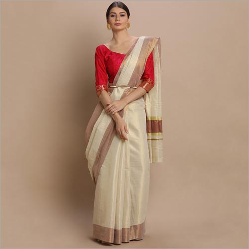 Kerala Kasavu Sarees with Plain Gold Tissue Body and Maroon Thread Pallu