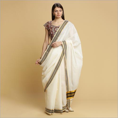 White Kerala Kasavu Sarees with Black Thread Pallu