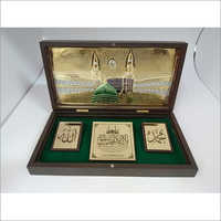 Copper Green - Golden Makka Madina Gold Plated Photo Frame Box, For Gift, Size 4 X 8 Inch