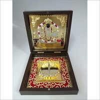 Copper Charbhuja Vishnu Gold Plated Photo Frame Box, For Gift