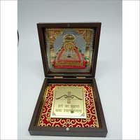 Golden,Red Copper Khatu Shyam Gold Plated Photo Frame Box