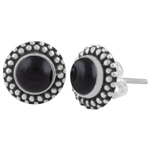 Black Onyx Natural Gemstone 925 Sterling Solid Silver Round Cabochon Stone Handmade Stud Earrings