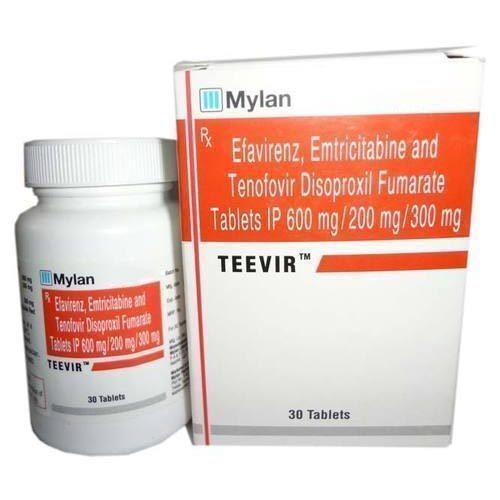 Teevir Tablet(Emtricitabine (200mg) + Tenofovir disoproxil fumarate (300mg) + Efavirenz (600mg)