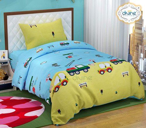 "Divine Overseas Microfiber Kids Printed Designer Bed Sheet (60"" x 90"" 1 Bedsheet + 1 Pillow Cover, Sky Lemon Car)"