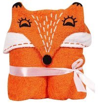 Divine Overseas Baby Boy's And Girl's Soft Cotton Animal Character Fox Hooded Towel (0-2 Years, Orange)