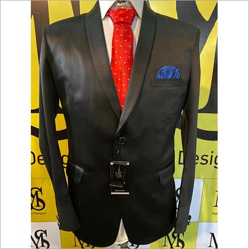 Black Satin Blazer For Party Wear