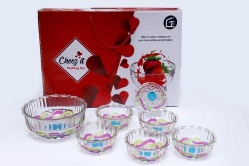 7 Pcs Pudding Set New Crystal Deco Carry Bag Box