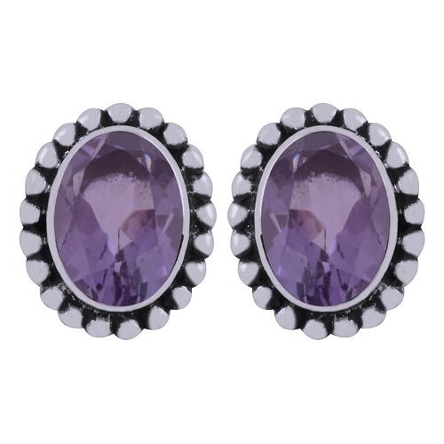 Amethyst Natural Gemstone 925 Sterling Solid Silver Oval Cut Stone Handmade Stud Earrings