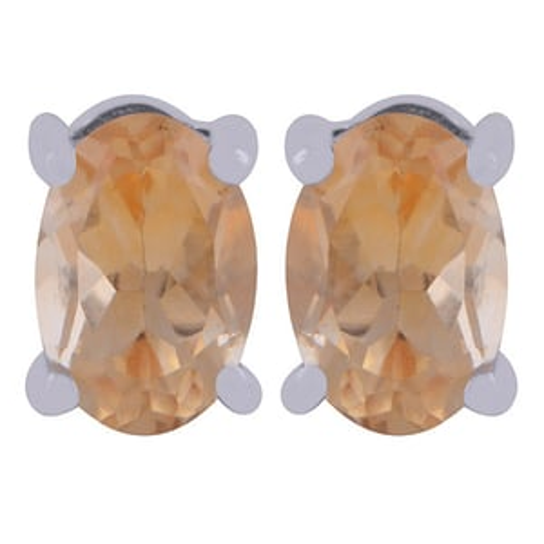 Citrine Natural Gemstone 925 Sterling Solid Silver Oval Cut Stone Handmade Stud Earrings