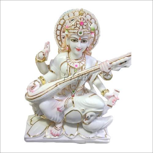 Marble Seating Saraswati Statue
