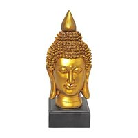 Table Top  Buddha Head Sculpture With Wooden Base